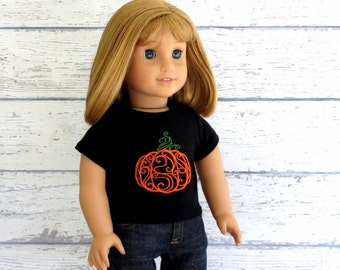 Pumpkin Tee Shirt, 18 inch Doll Clothes, American Girl Doll Clothes, Halloween T Shirt, Thanksgiving top