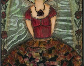 Frida y su Gata - Aceo Giclee print mounted on Wood (2.5 x 3.5 inches) Folk Art  by FLOR LARIOS