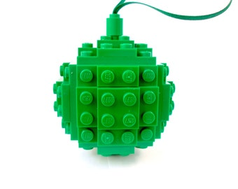 Christmas Bauble Handmade with LEGO(r) Bricks. Green Christmas Decoration, Christmas tree Decoration, Stocking Filler