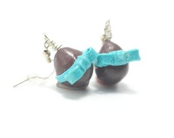 Chocolate Easter Earrings, Miniature Food Jewelry, Polymer Clay Food Jewelry