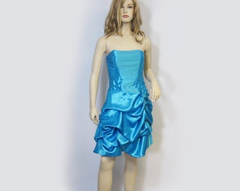 Vintage Dress 80s Strapless Turquoise Satin Bubble Skirt Rhinestone Sequin Accent  L