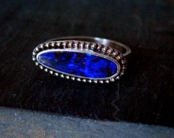 Australian opal ring / blue Australian boulder opal ring / October birthstone ring / opal jewelry / natural opal / opal ring / electric blue