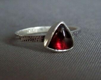 Custom trillion garnet and sterling ring / made to order garnet cabochon ring / January birthstone / triangular garnet / garnet jewelry