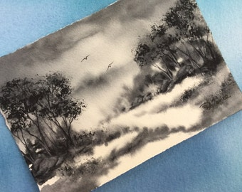 Landscape in Grey an Original Watercolor Painting 5x7 inch