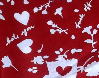 F*ck Off Hate You Red Heart Flower Quality Soft Fabric BTY