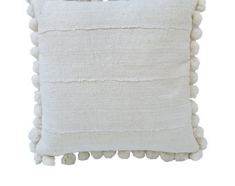 Bohemian White Vintage Mudcloth Pillow with Pom Poms 18x18