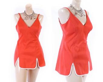 Vintage 60s Swimsuit // 1960s Swimsuit // Coral Swimsuit // Skirted Swimsuit - sz M/L