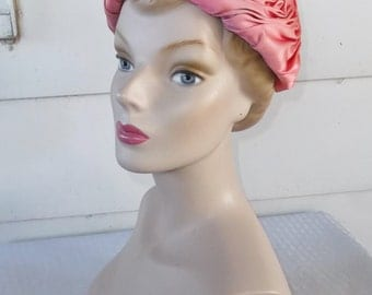 Early 1960s Vintage Norman Durand Pink Turban Hat