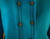 Women's Vintage 1950s early 60s Knit Sweater Dress Suit . 50s 60s Aqua Blue Knit Sweater Skirt Coordinate Set . Turquoise Blue Talbott