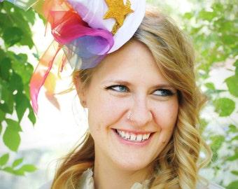 50% OFF! - Starlite - OOAK Fascinator Mini Hat in White Satin and Rainbow Chiffon - Rainbow Brite Inspired