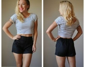 Deadstock, 1970s Black Shorts~Size Extra Small to Small
