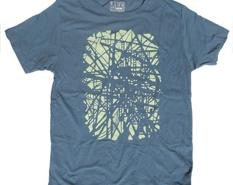 Brooklyn Subway Track Organic T Shirt, Unisex Blue