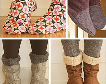 Bedtime Boots PDF sewing epattern - Easy to make adult sized slippers or booties in three sizes using recycled or traditional fabrics