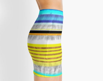 Pencil Skirt - Abstract Art Colorful Handmade Pattern