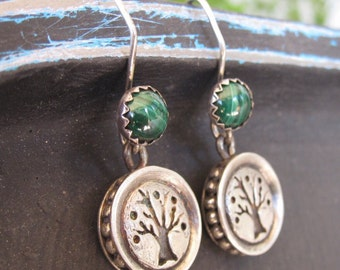 Silver Tree of Life earrings with green malachite