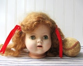 Vintage doll head hard plastic strawberry blonde Doll parts for decor or project E19