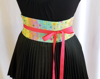 Pastel Rainbow Stripe Mini Corset Obi  - Sash Waist Cincher Belt Made to Order