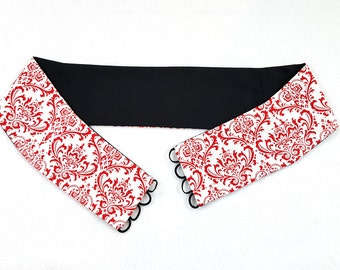 SAMPLE SALE Red White and Black Paneled Belly Dance Belt Lace Up