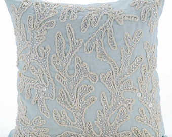 "Light Blue Pillows Cover, 16""x16"" Square Cotton Linen Pillows Covers For Couch - Pearly Sea Tangle"