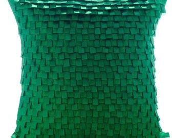 "Luxury Moosonee Green Pillows Cover, 16""x16"" Silk Pillows Cover, Square  Pintucks And Ribbon Loops Throw Pillows Cover - I Love Moosonee"