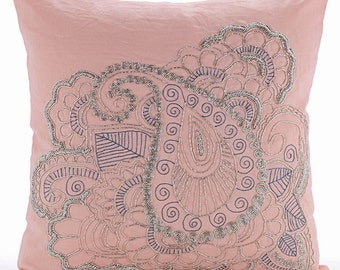 """Designer Pink Pillows Cover, 16""""x16"""" Cotton Linen Throw Pillows Cover, Square  Beaded Indian Paisley Pillows Cover - Paisley Beauty"""