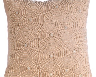 """Beige Decorative Pillow Cover,  Square  Mother Of Pearls Spiral Optic Pattern 16""""x16"""" Cotton Linen Pillows Cover - Spiral Revolution"""