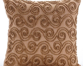 """Luxury Gold Pillow Covers, 16""""x16"""" Silk Pillows Covers For Couch, Square  Gold Scrolls Pillows Cover - Gold Scrolls"""