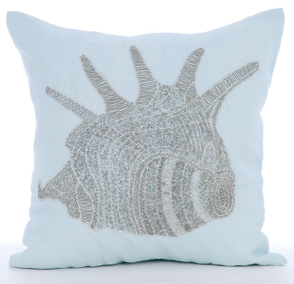 Blue Beaded Throw Pillow : Light Blue Throw Pillow Covers Square Beaded Sea Shells Sea