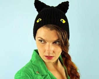 The Black Bat Cat Monster Hat With Ears and Eyes Halloween Hat Kids Gift