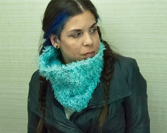 Fuzzy Teal Scarf Cowl Circle Neck Warmer