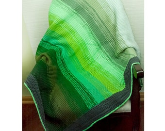Throw Blanket Green Ombre Gradient Knit and Crochet