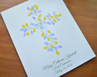Personalized Thumbprint Wedding First Communion Cross or Baptism Cross Guestbook Alternative