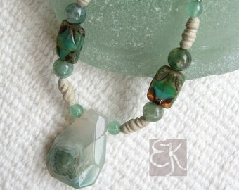 Memories of the Sea Ocean Jasper Necklace, Ocean Jasper Necklace, Green Gemstone Necklace, Rustic Necklace, Clay Necklace, Gift for Her