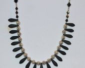 Black and Silver Dagger and Swarovski Crystal Beaded Necklace