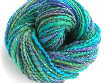 Handspun Yarn FREE Shipping in USA Hand Dyed Yarn Merino Wool Yarn 152 yards Super Bulky Yarn Art Yarn Green Blue - Marina