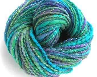 Handspun Hand Dyed Yarn Merino Wool Yarn 152 yards Super Bulky Yarn Art Yarn Green Blue - Marina