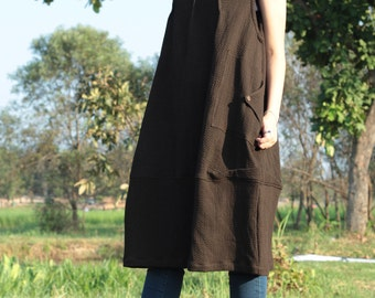Tulip dress turtle neck...Brown and black  3 layers cotton (1403)