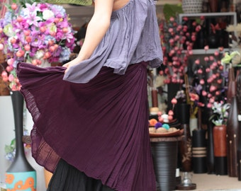 Sweet spot...2 layers full maxi skirt...Linen/cotton  Colour No.21/No.14 M,L,XL