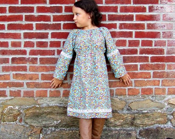 Girls peasant dress, girls dress, little girls peasant dress, long sleeves, vintage dress, bohemian dress, Thanksgiving dress, Christmas