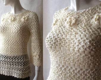 1960's / early 1970's Irish crochet lacy tunic top, cream with Rose of Sharon motifs, elbow sleeves, small / medium