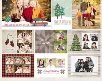 Home for Christmas Holiday Card Photoshop Templates - Includes 4 Cards and 5 Address Labels - 13 PSD Files - CS6036