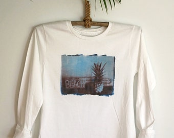 White Long Sleeve Pineapple Top