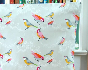 bright birds decorative pillow cover, blue red pink yellow orange grey cushion cover 18 inch