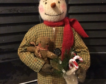 Primitive Christmas Snowman with Gingerbread Man and Stocking