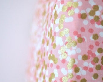 Pink and Gold Fitted Crib Sheet Confetti Dot Shimmer Reflection Peach Ready to Ship, Changing Pad Cover.