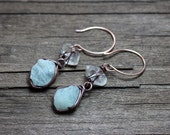 Aquamarine Herkimer Diamond Earrings ~ Blue Gemstone Earrings ~ Wire Wrapped Rough Nugget ~ Copper Rose Gold Rustic Jewelry