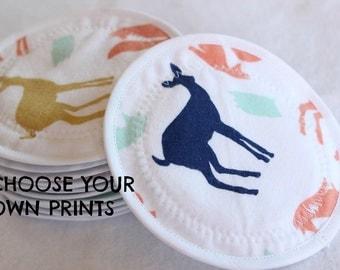 CUSTOM/You Choose Prints/Nursing  Pads, reusable nursing pad, waterproof breast pads, PUL, flannel, zorb, washable