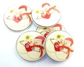 """5 Snowman Couple in Love Buttons.  Handmade Buttons.  Snowman Sewing buttons. 3/4"""" or 20 mm round."""