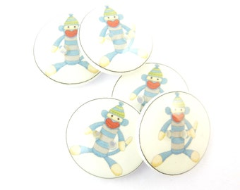 5 Sock Monkey Buttons.  Blue Sock Monkey Novelty Buttons.  Decorative Buttons.  Craft Buttons.