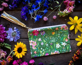 Green Wildflower Pouch - Handmade Bag - Katie Daisy Painting